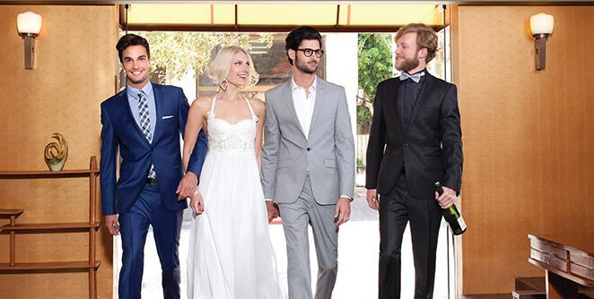חליפת ארמני מימין, חליפת הוגו בוס באמצע, חליפת קורלאני משמאל